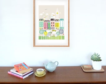 Large London Print, Skyline Wall Art, Big Ben Paper Print, Cityscape illustration, Home, Office Nursery Wall Decor, gift for house warming
