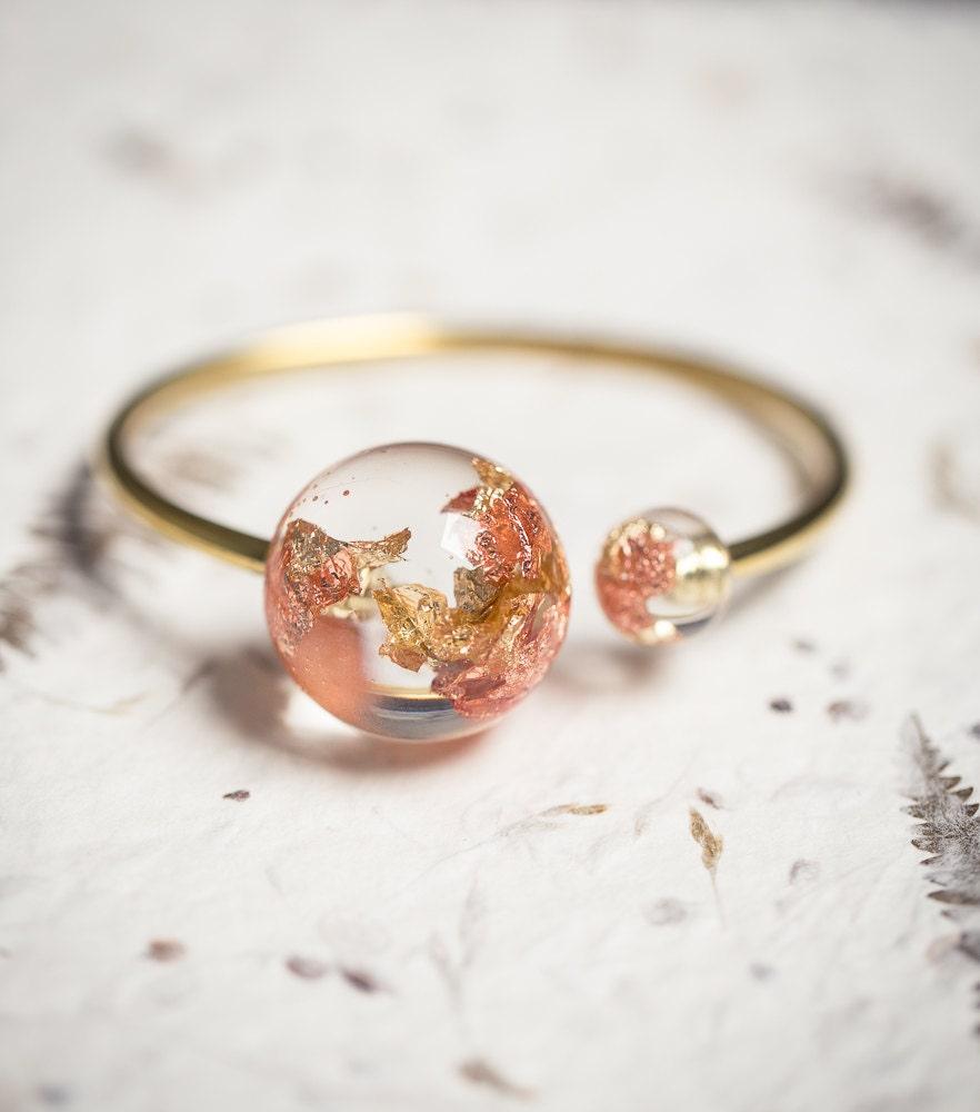 Gold Globe Resin Statement Cuff Sun Moon Bracelet Rose Yellow