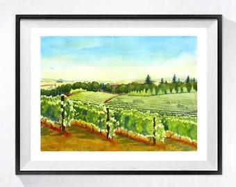 Vineyard Print Italian Vineyard Vine country California wine Travel art French farm landscape watercolor painting Green painting