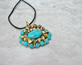 Tiny Turquoise Pendant - Cool Boho Western Pendant also in Angel Skin Coral (Great for layering)