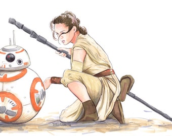 Rey and BB8 Print