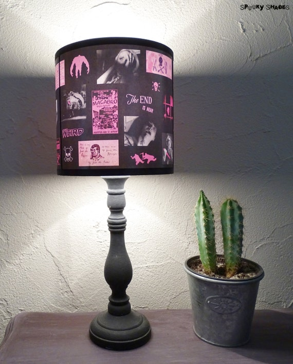 Pink Horror Lamp Shade Lampshade - lighting, unique lamp shade, Night of the living dead, neon pink, horror decor, pop culture, geek, dorm