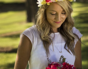 Lucy Floral Crown Silk Flower Crown Maternity Photoshoot Wedding Accessory