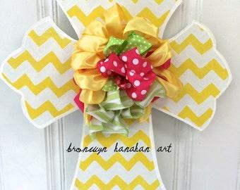 FREE SHIPPING - Mixed Ribbon Yellow Cross Door Hanger - Bronwyn Hanahan Art
