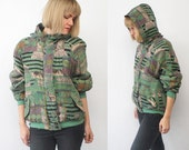 80s 90s abstract print slouch silk bomber jacket. hooded silk jacket - medium, large