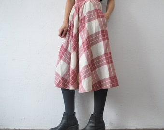70s pastel skirt. full midi skirt. pink and cream plaid skirt with pockets - xs, small