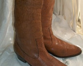 Vintage 80s Caramel Exotic Leather Cowboy Boots Size 9 1/2 B Purchased at Banana Republic