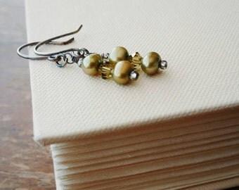 Olive Green Freshwater Pearl Swarovski Crystal Element Earrings. Oxidized Sterling Silver Earwires. Khaki Green Crystal Pearl Drop Earrings