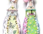 Embellished Lady Doll Ornaments Tiny Art Doll Decorations Set of Two Handmade Cloth Dolls Modern Folk Art Doll Decorations
