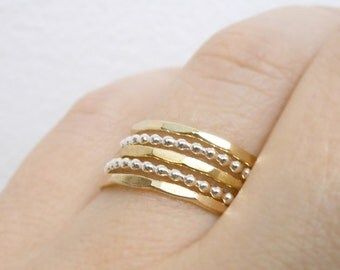 Beaded Thin Stacking rings, mixed metals, hammered rings, Gold or rose gold and silver stacking rings. Set of 5 layering rings