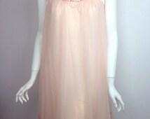 VTG 60s Sheer Peach Babydoll Dress Nightgown
