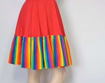 Vintage Red Rainbow Skirt Peasant Square Dance Skirt Handmade Ruffle Skirt Waist Size 31 Inches