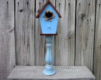 Decorative Birdhouse, Pedestal, Blue, Rustic Decor, Indoor Birdhouse, Stained, Distressed, Gold Pip Berry Wreath, Primitive, Country Decor