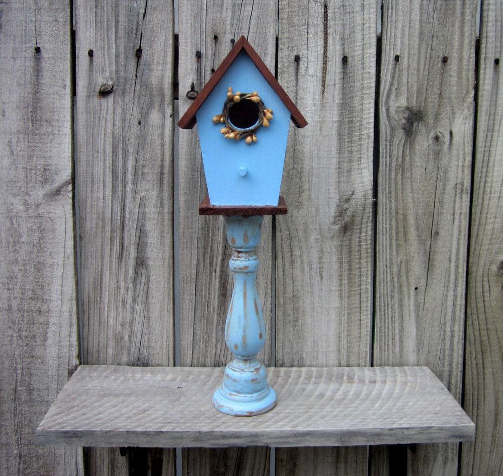 decorative birdhouse pedestal blue rustic decor indoor. Black Bedroom Furniture Sets. Home Design Ideas
