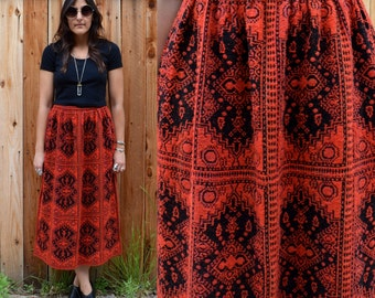 Vintage 60s Red & Black MOD Skirt S M