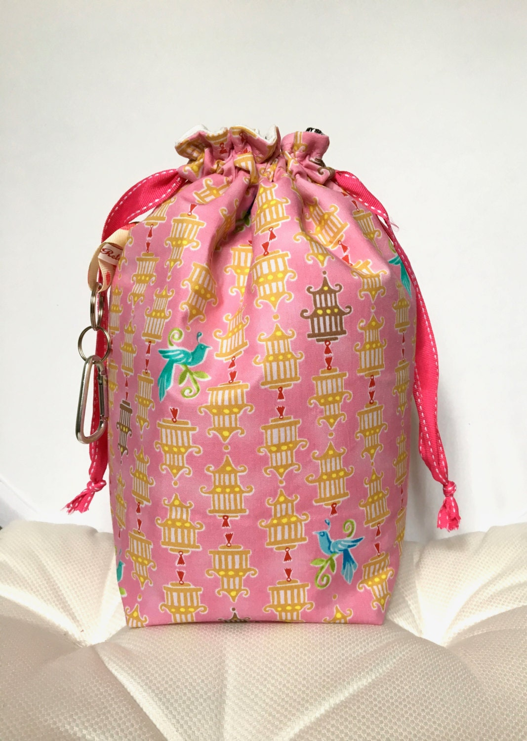 Knitting Project Bags Uk : Project bag knitting craft drawstring birdcage