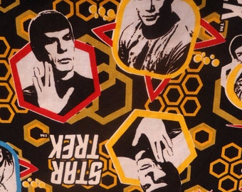 Star Trek Panel Shirt, Kirk and Spock in a Gold Hex, Made to Order Choose Men's Small to 6X
