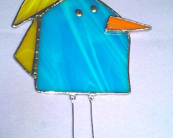 LARGE Bird #1 Stained Glass Suncatcher with yellow top feathers and dangling legs, Kid's Drawing Series