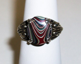 Vintage, Sterling Silver Ring upcycled with a Groovy 1960's, Detroit, Motor-City Agate, Fordite Cabochon ~ mrfeld ~ FR110