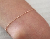 Rose Gold Satellite chain bracelet - dainty rose gold chain bracelet - gold filled