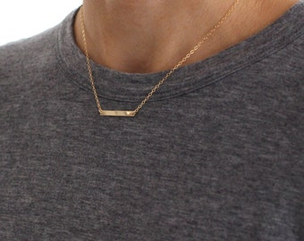 Small Gold Bar necklace - delicate gold layering jewellery - minimal gold fill bar pendant