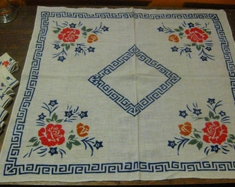Perfect Greek Key Border On Vintage Bridge Table/ Doll Tablecloth Linens