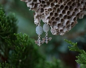 Bee Wear - Beekeeper Earrings - Honey Bee and Carved Labradorite Earrings by Prairieoats