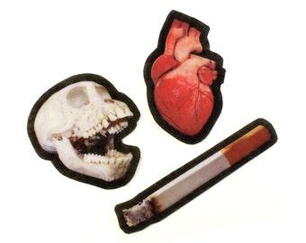Felt Death Patch Set, photorealistic death parts, anatomical heart, monkey skull, cigarette, iron on, sew on, applique