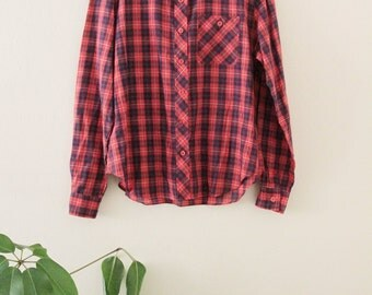 70's Red Plaid Blouse