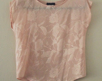 80's Silky Salmon Floral Top