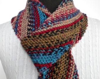 Scarf Diagonal Desert  Shades Hand Knit