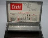 1970's Vintage Coors Beer Advertising, Aluminum Coors Beer Desk Calendar, 1970s Beer Advertising, Barware Items, Collectible Beer Stuff,Beer