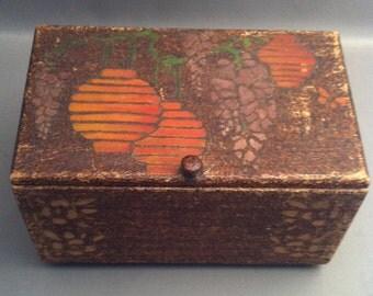 Vintage Pyrography Folk Art Sewing Box, Decorative 1900's Chinese Sewing Box, Wood Burned Wood Box w/ China Lanterns, Folk Pyrography Box