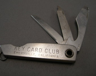 1950's Key Card Club Emeryville California Collectible Knife, EMERYVILLE California collectibles  Advertising Folding Knife w/ File, Emory
