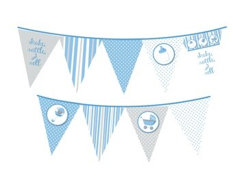 Shake Rattle and Roll - It's A Boy Baby Shower Themed Pennant Set - INSTANT DOWNLOAD