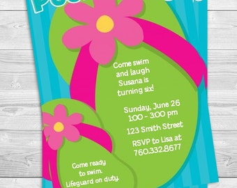 Flip Flops For Girls Pool Party - Birthday Party Invitation Professionally printed *or* DIY printable PDF