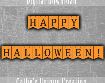 Happy Halloween Banner, Orange and Black, October 31st, Decoration, Bunting Banner, Pennant Printable Wall Sign DIY INSTANT DIGITAL download