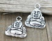 Buddah Charms, 8pcs, Silver Metal Charms, Smiling Buddah Pendants– C602