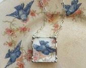 Sweet little bluebird broken china jewelry pendant necklace made from a broken plate