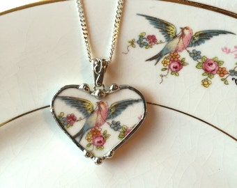 Broken china jewelry heart pendant necklace bird of paradise with rose garland made from antique china