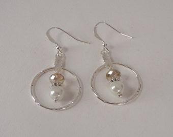 Swarovski Crystals and Pearls, Silver Plated, Hoop Dangle Earrings