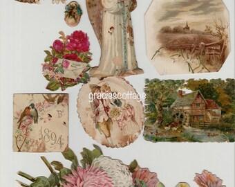 Ephemera Victorian Scrap Die Cut Shabby Paper c Early 1900s Mixed Media