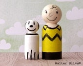 Snoopy and Charlie Brown Doodle Peg Dolls - Peanuts Peg Dolls - Playtime Toys - Doll house item
