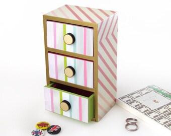 Geometric three drawer Organizer - Modern trendy Organizer - Decoupage Desktop organizer with Gold Trim