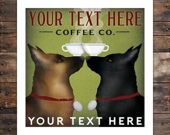 CUSTOM PERSONALIZED Double German Shepherd Print Beer Wine Coffee Tea Martini Poster or Canvas