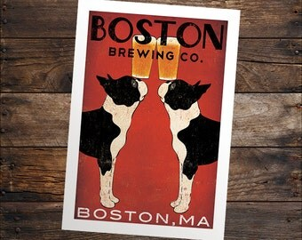 free CUSTOM Boston Terrier Print Personalized -- BOSTON Terrier Brewing Co. Beer  ILLUSTRATION Giclee Print  signed