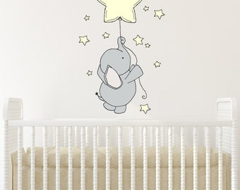 WALL DECAL -- Elephant Star Balloon and Stars -- Nursery Art