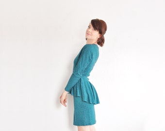 heathered teal 1980 peplum dress . retro classy broad frock .small .sale
