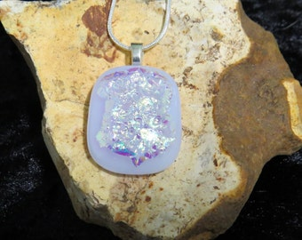 Lilac Dichroic Glass Pendant - Opal Necklace - Dichroic Fused Glass - Fused Glass Jewelry- Opal Necklace Dichroic Jewelry