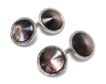 Art Deco Conical Mother of Pearl Double Sided Silver Cufflinks